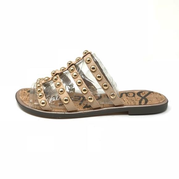 0f820a8b2ea Sam Edelman Sz 8 Glenn Studded Slide Sandals Nude